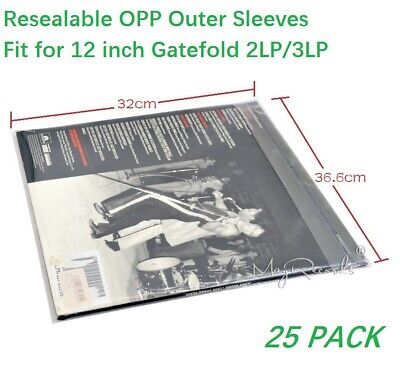 25PCS Resealable Thicken Plastic Vinyl Record Outer Sleeves for GATEFOLD 2LP 3LP