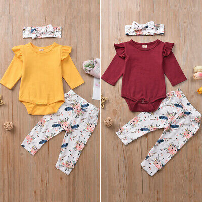 3PCS Newborn Infant Baby Girls Tops Romper Floral Pants Headband Outfits Clothes