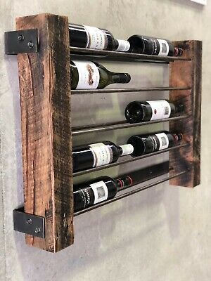 Wall mounted, Rustic wine rack, handcrafted 10 bottle holder by el deco design.