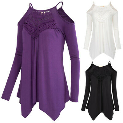 Sexy Women's Casual Loose Long Sleeve Cold Shoulders Blouse Ladies Summer Shirt