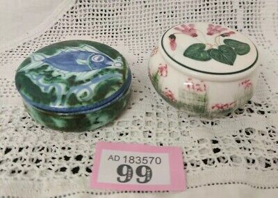 Two Lovely Small Hand painted Porcelain/Pottery lidded Pots Cyprus Fish Cyclamen