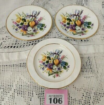 Set Of 3 Fine Bone China Spring Flowers Trinket Pin Butter Dishes Small Plates