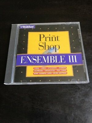 Print Shop Ensemble III 3 PC CD create custom cards labels stationery calendars+