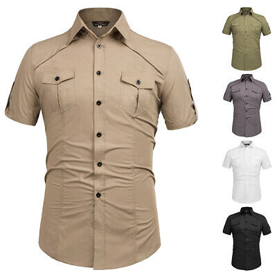 Cheap~Casual Sleeve Formal Shirts Tops Mens Slim Short Button-down Military