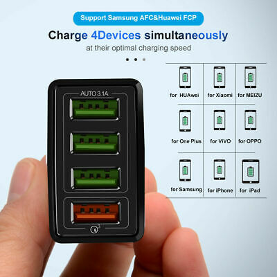 4 Multi-Port Fast Quick Charge QC 3.0 USB Hub Wall Charger Adapter UK EU Plug XY