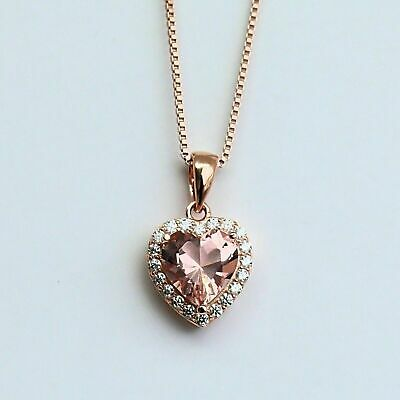 1.2Ct Heart Cut Peach Morganite Diamond Pendant 14K Rose Gold Over Without Chain