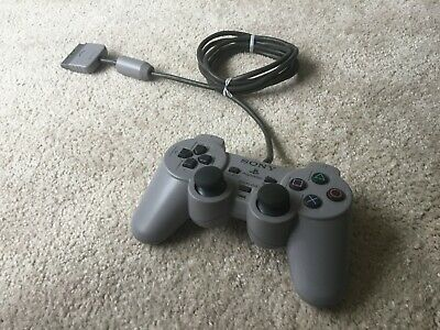 Official Sony PlayStation 1 DualShock Controller Grey - Tested + Working