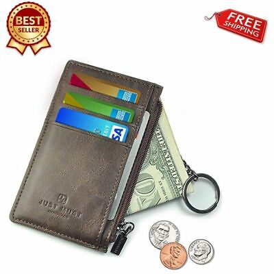Slim Minimalist RFID Card Holder Leather Wallet For Mens Blocking Classic Pocket