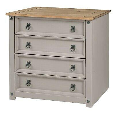 Corona Chest Grey Wax Small 4 Drawer Chest Solid Pine by Mercers Furniture®
