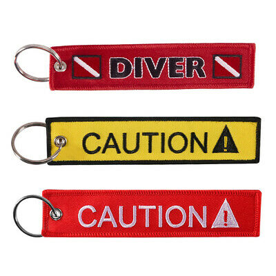 FZ- CAUTION DIVER Print  Embroidery Tag Keychain Keyring Key Chain Pendant Trend