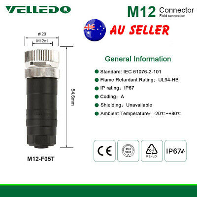 VELLEDQ M12 Connector 5-Pin Female Straight Cable Plug Fittings For Industrial