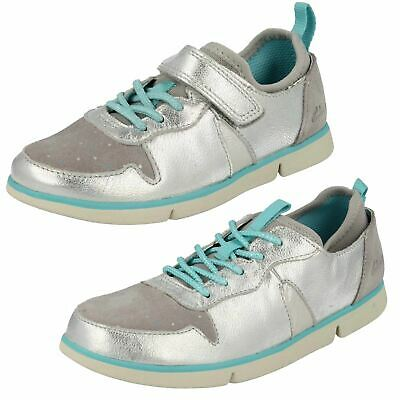 Girls Kids Clarks Tri Bessie Hook & Loop Casual Sports Trainers Laces Shoes Size