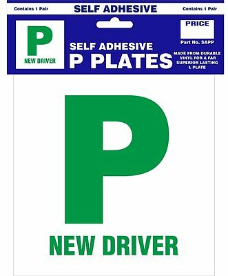 2 x P PLATES PAIR PASSED DRIVING TEST SELF ADHESIVE