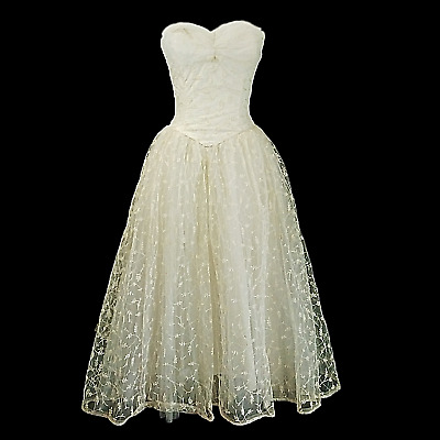 Vintage Midi Strapless Dress 50s White Lace Formal Homecoming Wedding Size XS