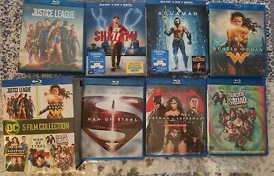 DC 7- Film blu ray collection - No dvd or digital  Shazam/Auqaman/Justice League