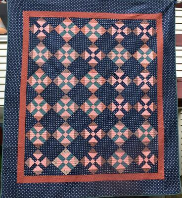 "Antique ""Railroad Crossing"" Quilt, Great Early Fabrics, Bordered , #18516"