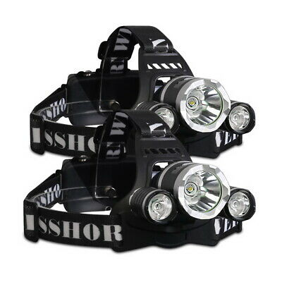 2X WEISSHORN LED Headlamp Rechargeable Head Torch Light 90000LM CREE XML T6 R5