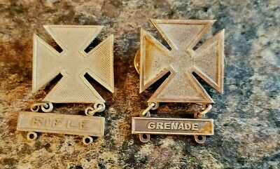 Lot of 2 U.S. Military Rifle Sharpshooter & Grenade Qualification Pins (Lot 915)