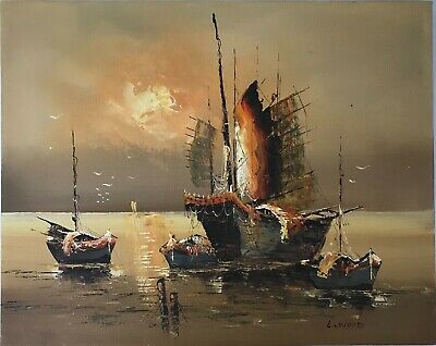 """Vintage Oil Painting Signed Old Ship Sail Boats Ocean Sunset Warm Colors 16""""x20"""""""