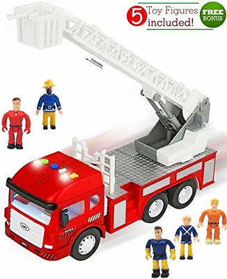 4 Sirens Toy Fire Truck with Lights and Sounds Extending Ladder Powerful NEW