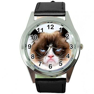 Grumpy Cat Pussy Bad Day Moody Angry Kitten Black Leather Funny Steel Watch