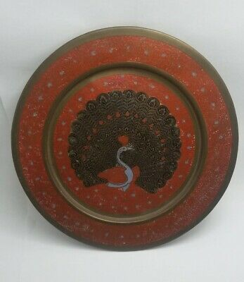 Antiques Vintage Copper Tray Hand Painted Peacock For Decorative Art