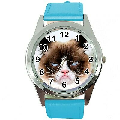 Grumpy Cat Pussy Bad Day Moody Angry Kitten Blue Leather Funny Steel Watch