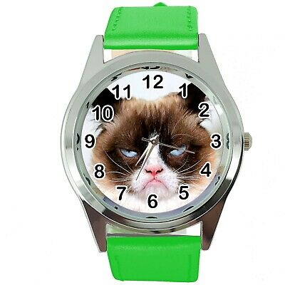 Grumpy Cat Pussy Bad Day Moody Angry Kitten Green Leather Funny Steel Watch