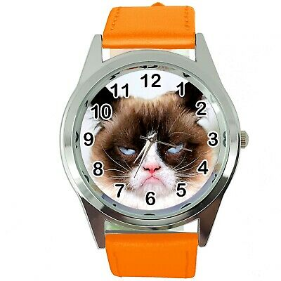 Grumpy Cat Pussy Bad Day Moody Angry Kitten Orange Leather Funny Steel Watch