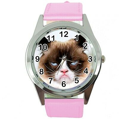 Grumpy Cat Pussy Bad Day Moody Angry Kitten Pink Leather Funny Steel Watch
