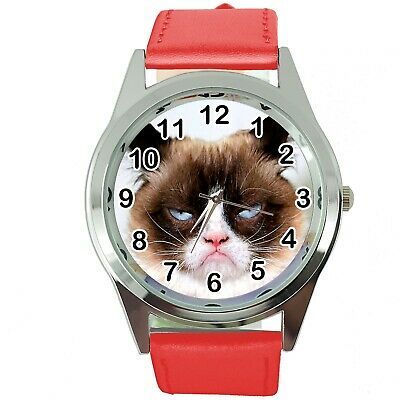Grumpy Cat Pussy Bad Day Moody Angry Kitten Red Leather Funny Steel Watch
