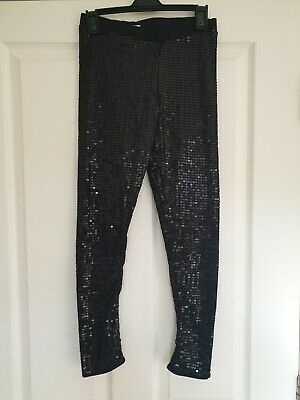 George Girls Black Sequin Full Length Leggings Age 12-13
