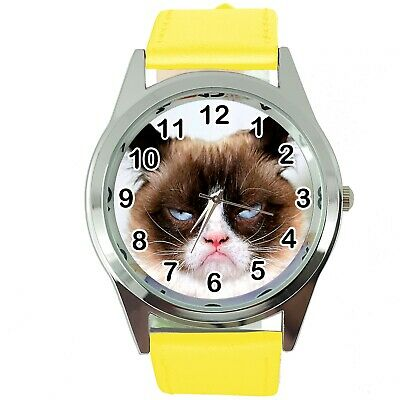 Grumpy Cat Pussy Bad Day Moody Angry Kitten Yellow Leather Funny Steel Watch