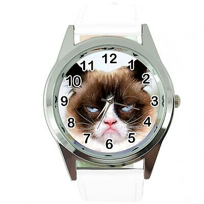 Grumpy Cat Pussy Bad Day Moody Angry Kitten White Leather Funny Steel Watch