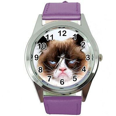 Grumpy Cat Pussy Bad Day Moody Angry Kitten Purple Leather Funny Steel Watch