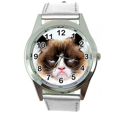 Grumpy Cat Pussy Bad Day Moody Angry Kitten Silver Leather Funny Steel Watch