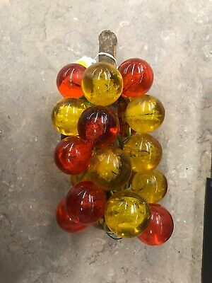 VTG Mid Century Amber Lucite Acrylic Grapes Cluster on Driftwood