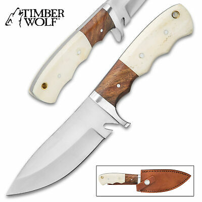 Timber Wolf Wood Bone Fixed Blade Hunting Knife Bowie Survival Skinning w/Sheath