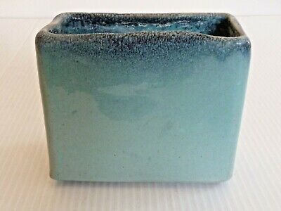 Glidden 108 Large Rectangular Vase W/ Two-Toned Turquoise & Blue Glaze