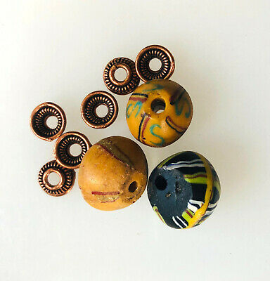 3 King Beads with Copper Bead Caps by Kate Drew-Wilkinson