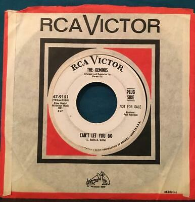 THE GEMINIS Can't Let You Go / I Hired the Girl~1967 NO. SOUL WHITE LABEL PROMO