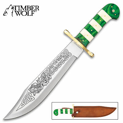 "16"" Timberwolf Celtic Green Fixed Blade Bowie Knife Hunting Skinning w/ Sheath"