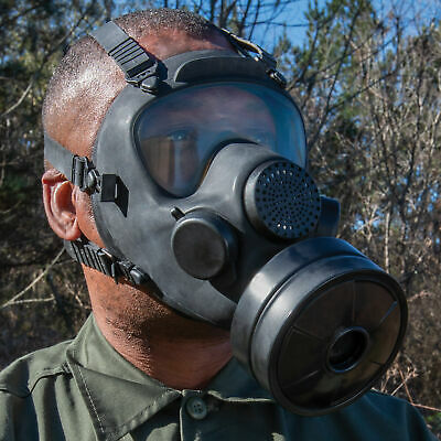 Real Polish Military Full Gas Mask Filter Emergency Survival Surplus Goggles