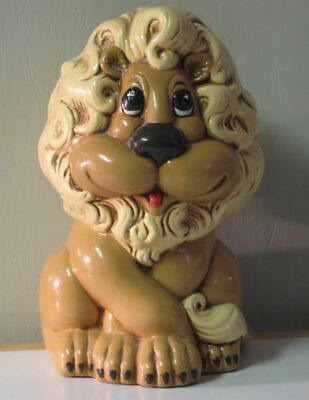 Atlantic Mold Lion Coin / Bills Bank 1970s Vintage Hand Painted