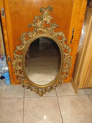 Vtg Large Ornate Scrolled Wall Mirror~Home Interior~1964
