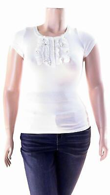 Sweet Color Henley Floral Polka Dot Rhinestone Applique Stretch Shirt Womens Top
