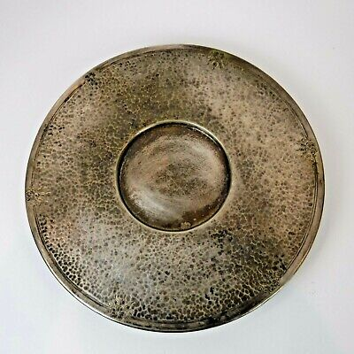 """PS Co Sheffield Hand Hammered Nickel Round plate 10 1/4"""" Footed Tray 8563"""