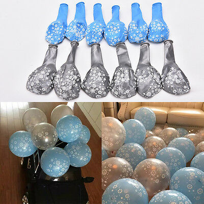 12X Silver/Blue  Frozen Snowflake Printed Latex Balloons Kids Birthday Party wi