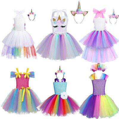 Girls Princess Outfit Tutu Skirt Party Fancy Dress Up Halloween Cosplay Costumes