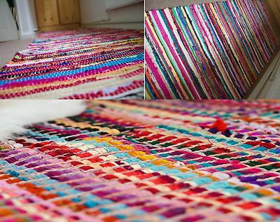 100% Cotton Handmade Multi Colour Chindi Rug Area Rag Rugs Flat Mat Mats